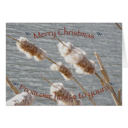 Cattails-frohe Weihnacht-Karte Grußkarte