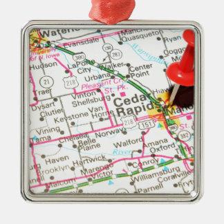 Cedar Rapids, Iowa Silbernes Ornament