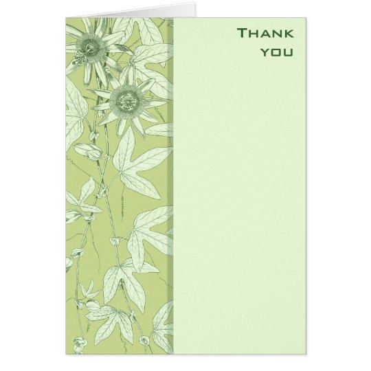 Celadon-grüne botanische Blumen danken Ihnen Mitteilungskarte