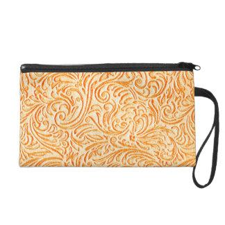Celosia orange Vintager Scrollwork grafischer Wristlet Handtasche