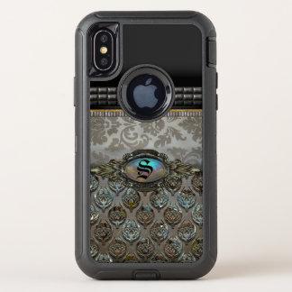 Celslinus hübsches Schutz-Damast-Monogramm OtterBox Defender iPhone X Hülle
