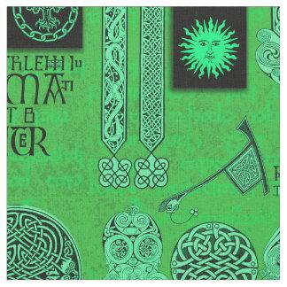 Celtic Gryphon und Kells Smaragdgrün Stoff