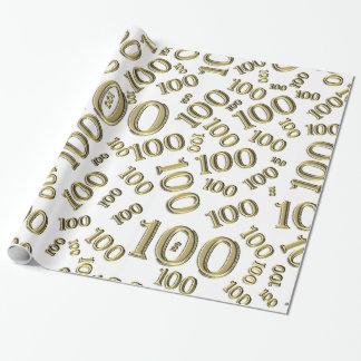 Centenarian-100. Geburtstags-Party-Gold/weißes Geschenkpapier