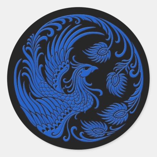 Cercle bleu traditionnel de Phoenix sur le noir Autocollants Ronds