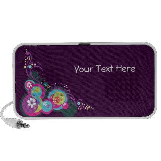 Cercles assez rétros, remous et fleurs haut-parleurs iPod