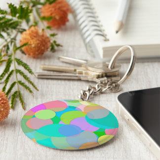 Cercles et bulles colorés contemporains porte-clé rond