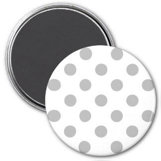 Cercles gris de pois de chrome magnet rond 7,50 cm