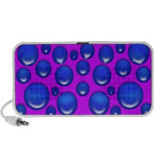 Cercles roses bleus de point de polka rétros haut-parleurs iPod
