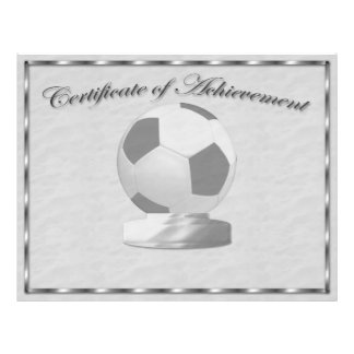 Certificat argenté du football de l'accomplissemen prospectus 21,6 cm x 24,94 cm