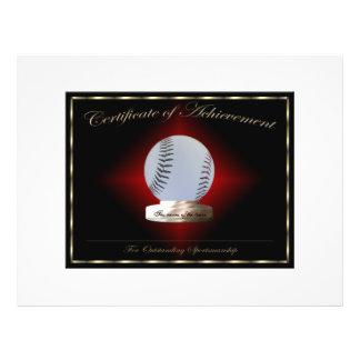 Certificat de base-ball de l accomplissement prospectus en couleur