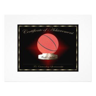Certificat de basket-ball de l'accomplissement prospectus en couleur