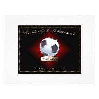 Certificat du football de l'accomplissement prospectus avec motif