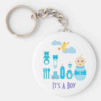 C'est un garçon : Porte - clé nouveau-né de crèche Porte-clé Rond