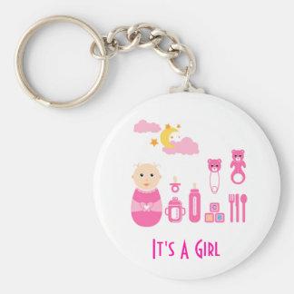 C'est une fille : Porte - clé nouveau-né de crèche Porte-clé Rond