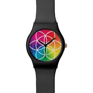 Chakras Regenbogen-Samen des Leben-Symbols Uhr