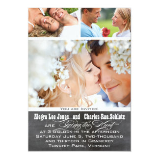 Chalkboad Foto-Typografie-Hochzeits-Einladungen Karte