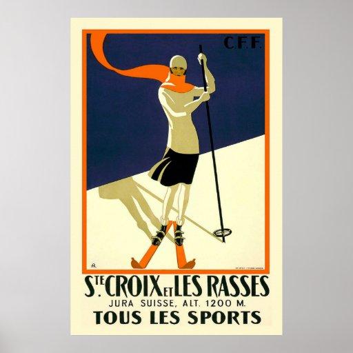 """""""Chambre Croix et voyage vintage suisse de Les Ras Affiche"""