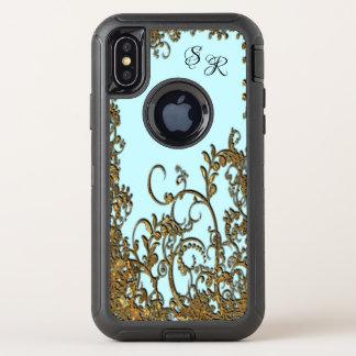 Chambroley elegantes Blumenx Monogramm OtterBox Defender iPhone X Hülle