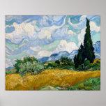 Champ de blé avec des cyprès par Vincent van Gogh