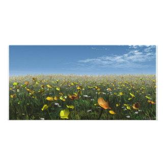 Champ de carte photo de fleurs modèle pour photocarte