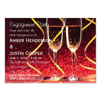 Champagne-Glas-Foto - Verlobungs-Party Karte