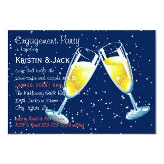 Champagne-Glas-Nacht - Party der Verlobungs-3x5 8,9 X 12,7 Cm Einladungskarte