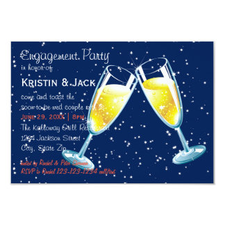 Champagne-Glas-Nacht - Party der Verlobungs-3x5 Karte