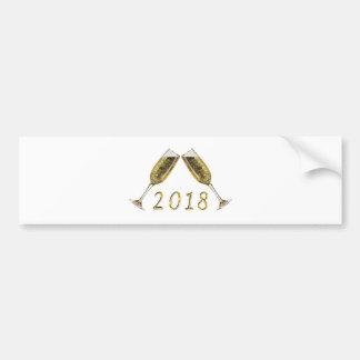 Champagne-Gläser 2018 Autoaufkleber
