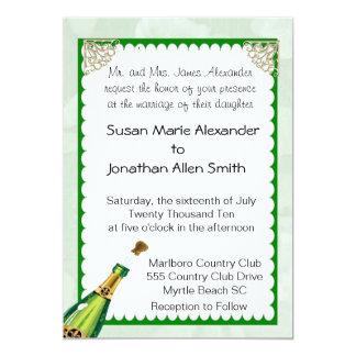 Champagne-Hochzeits-Einladung 12,7 X 17,8 Cm Einladungskarte