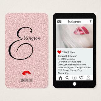 Champagne-Rosa-Spott-Leder Instagram Art Visitenkarte