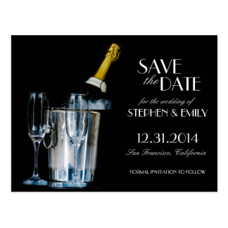 Champagne-Silvester formal Save the Date Postkarte