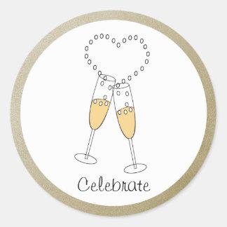 Champagne-Toast-Aufkleber Runder Aufkleber