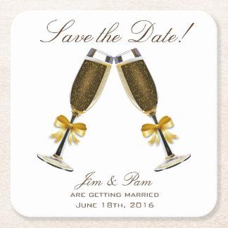 Champagne-Toast Save the Date Kartonuntersetzer Quadrat