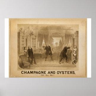 Champagne und Austern-Retro Theater Poster
