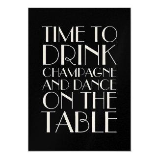 Champagne-Zwanzigerjahre Geburtstags-Einladung 12,7 X 17,8 Cm Einladungskarte