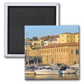 Chania Hafen; Kreta-Magnet Quadratischer Magnet