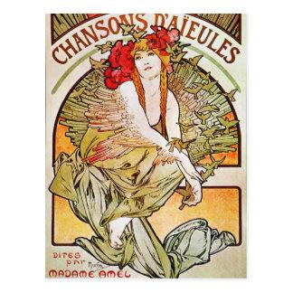 Chansons D'aieules Vintage Theater-Anzeige Postkarte