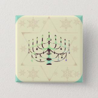 Chanukah Knopf Quadratischer Button 5,1 Cm