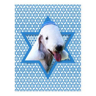 Chanukka-Davidsstern - Bedlington Terrier Postkarte