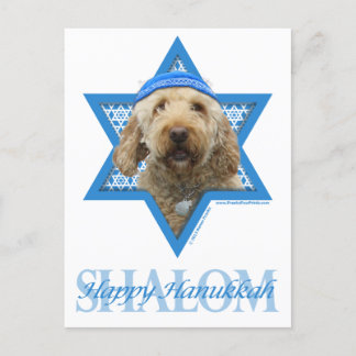 Chanukka-Davidsstern - GoldenDoodle Feiertagspostkarte