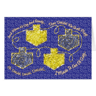 "Chanukka-Gruß-Karte ""Gold Dreidels"" Karte"