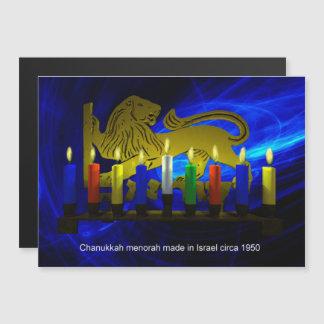 Chanukkah Messinglöwe Menorah Magnetkarte