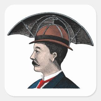 Chapeau de parapluie - illustration vintage autocollant carré