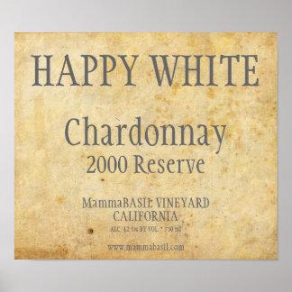 Chardonnay-Aufkleber-Plakat Poster