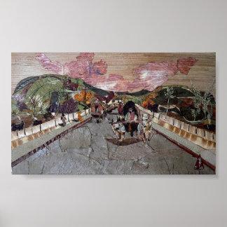 Chariot de Bullock dans la ville Affiches