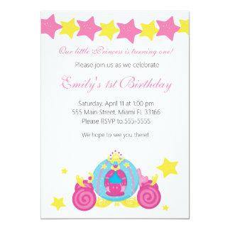 Chariot de princesse Girl Birthday Invitation Pink