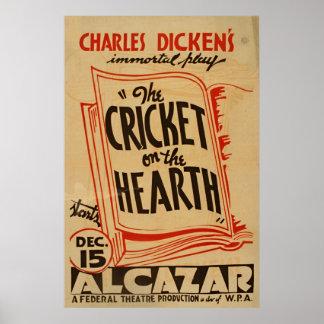 Charles- Dickenskricket auf dem Herd Vintages WPA Poster