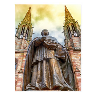 Charles-Emile Freppel Statue, Obernai, Frankreich Postkarte