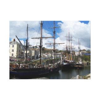 Charlestown Südcornwall Segelschiffe Leinwanddruck