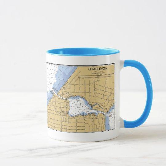 Charlevoix, MI-Seehafen-Diagramm-Tasse Tasse